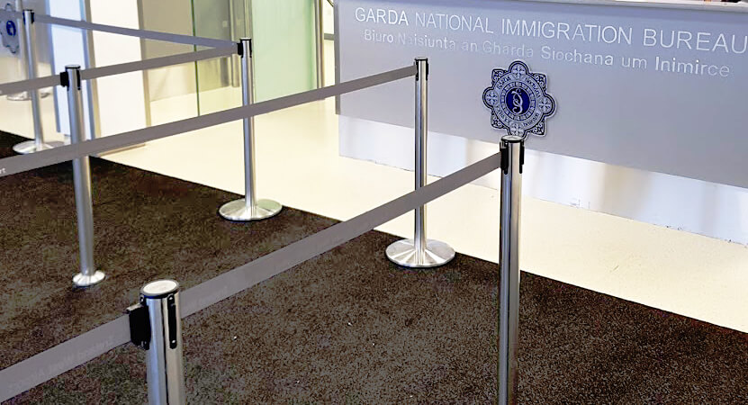 retractable belt stanchion used in a government building